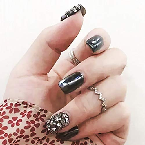 (Drecode Punk Fake Nails Metal Mirror Blue Purple Full cover False Nails Tip Fashion Party Clip on Nails for Women and Girls)