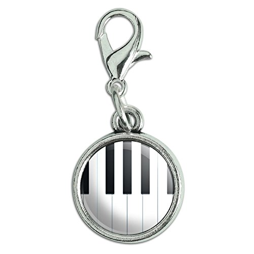 Antiqued Bracelet Pendant Charm with Lobster Clasp Music Musical Instruments - Piano Keys Music