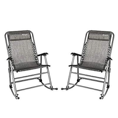 Bonnlo Set of 2 Zero Gravity Rocking Chair Patio Lawn Chair, Beach Reclining Folding Chairs, Outdoor Portable Recliner for Camping Fishing Beach (Grey-2pcs)