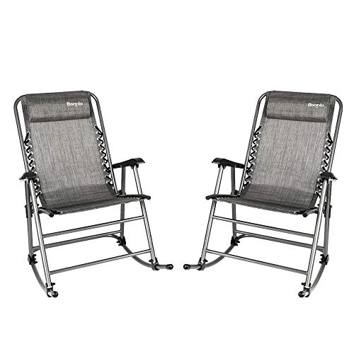 Bonnlo Set of 2 Zero Gravity Rocking Chair Patio Lawn Chair, Beach Reclining Folding Chairs, Outdoor Portable Recliner for Camping Fishing Beach (Grey-2pcs) ()