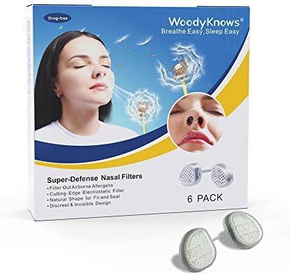 WoodyKnows ماسک بینی، کاهش آلرژی، کاهش گرده، گرد و غبار (نستله های شکاف دار، بسته های چندگانه (4 فریم)) (Round Nostrils، L (6 فریم))