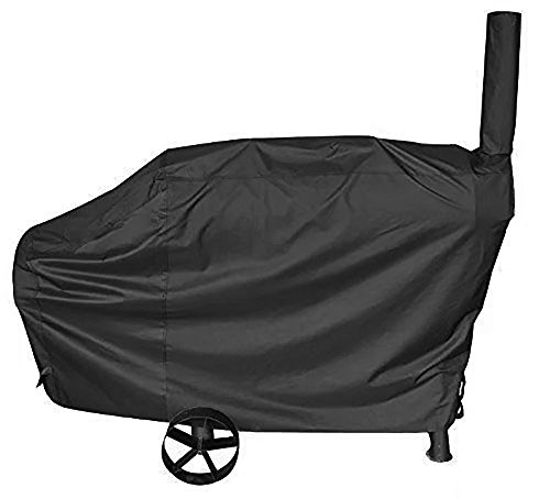 iCOVER 66 Inch 600D Heavy-Duty water proof patio outdoor Canvas black offset BBQ Barbecue Smoker Cover G21610 for Brinkmann Char-broil (Brinkmann Smoker Accessories)
