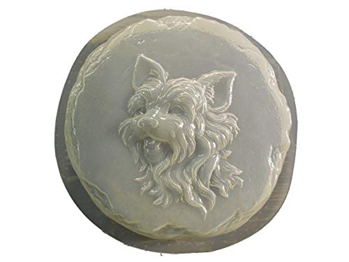 Round Yorkie Dog Stepping Stone Concrete or Plaster Mold 1338