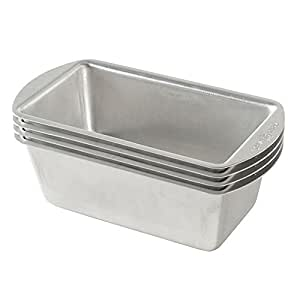 Nordic Ware Natural Aluminum Commercial Mini Loaf Pans, Four 2-Cup Pans