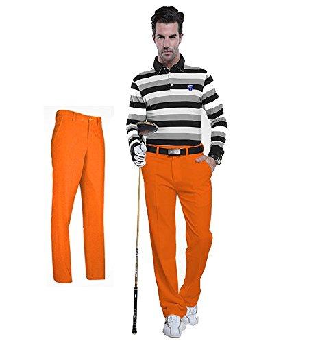 Kayiyasu ロングパンツ メンズ ゴルフウェア 防水 UVカット 男性用 撥水 長ズボン 021-xsty-kuz005(XS オレンジ)