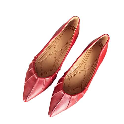 August Jim Women Flats Ballet Shoes Soft Vegan Leather Comfortable Basic Slip On Dress Shoe