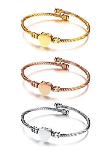 (Mealguet Jewelry Stainless Steel Tri-Color Twisted Cable Wire Heart Charm Trinity Triple Stacking Bangle Bracelets Set for Women)