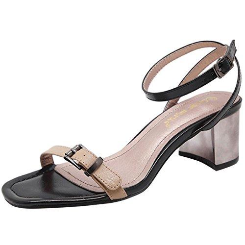 Toe strap Mashiaoyi heel Donna Sandalo Ankle Block Peep Buckle