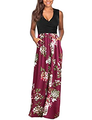 DAMISSLY Women's Floral Maxi Dresses Sleeveless V-Neck Loose Plain Casual Long Dresses with Pockets