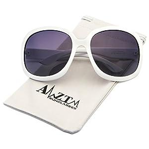AMZTM Classic Simple Oversized Polarized Women Sunglasses All-match Large Frame Eyewear (White, 66)
