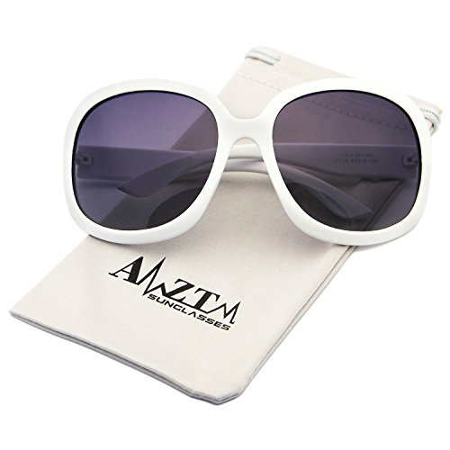 AMZTM Classic Simple Oversized Polarized Women Sunglasses All-match Large Frame Eyewear (White, - White Sunglasses Ladies