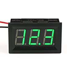 "DROK® Handy 0.56"" LED DC Digital Voltmeter DC 3-30V Voltage Meter Gauge Panel 12V/24V Volt Tester Detector Power Monitor with Bright Green Digital Display for Solar Panel Car Auto Battery Monitoring"