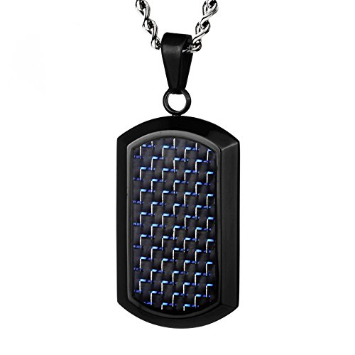 - Crucible Jewelry Mens Stainless Steel Black & Blue Carbon Fiber Dog Tag Pendant Necklace, 24