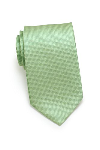 Bows-N-Ties Men's Necktie Shiny Textured Solid Microfiber Satin Tie 3.1 Inches (Laurel Green)