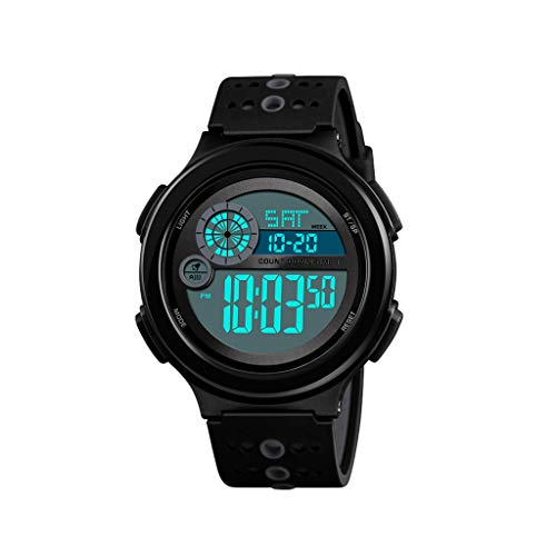 EGCLJ Men's Digital Sports Watch Electronic Military Watch with Alarm Clock Stopwatch Dual Time (Color : ()