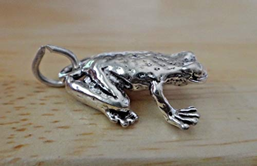 Fine Charms Sterling Silver 3D 18x14x6mm Sized Spotted Frog Toad 3 Dimensional Frog Charm