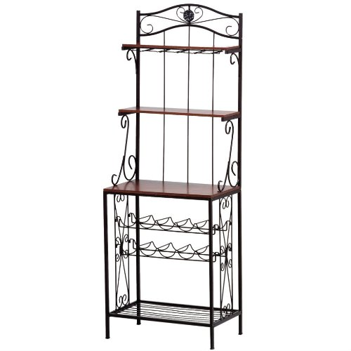 Wine and Glassware Rack with Shelves