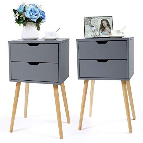- Cypress Shop End Table Nightstand Wood Cabinet Sofa Side Desk Accent Table Bedside Table Sleek End Table Drawer Couch Side Coffee Desk with 2 Drawers Cupboard Home Furniture Decors Gray Set of 2