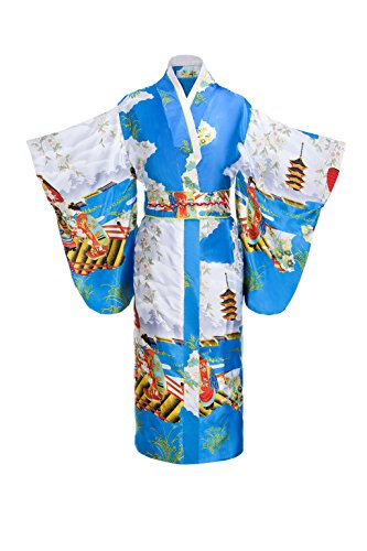 Yukata Women's Gorgeous Japanese Traditional Geisha Kimono Robe, Blue by Joy Bridalc