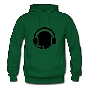 O-neckclothing Women Headset Headphones Designed Sweatshirts (x-large,green)