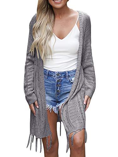 YeMgSiP Women's Boho Open Stitch Crochet Knit Sleeve Cardigan Boyfriend Loose Casual Outwear Coat Baggy Sweaters (Medium, Z-Gray)