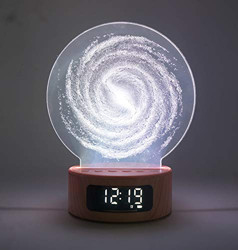 LED Night Light Alarm Clock Bluetooth Speaker with USB Charging, TF Slot and 7 Colors Changing for Home Decorations, Kids Bedroom and Gifts ()