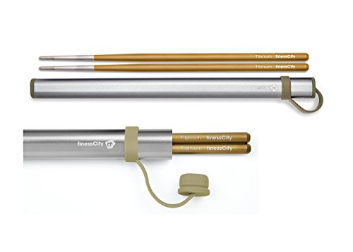 Chopsticks Travel (Chopsticks, 1 Pair of Titanium Chopsticks Ultra Lightweight Professional (Ti), Super Strong Healthy and Eco-Friendly 1 Pair of Chopsticks Comes with Free Aluminium Case (Golden))