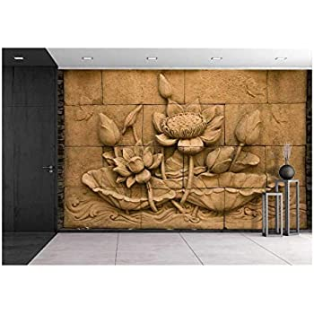 wall26 - a Stone Inscription of a Flower, Thai Style of Buddhism - Removable Wall Mural   Self-adhesive Large Wallpaper - 66x96 inches