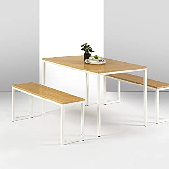 Zinus Modern Studio Collection Soho Dining Table With Two Benches/3 Piece  Set, White