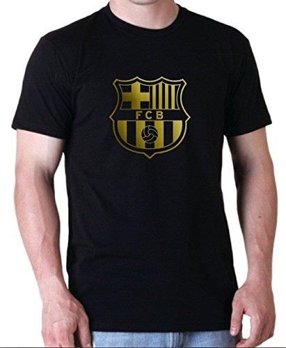 Uzair FC Barcelona Emblem Soccer Football Fashion Hoodie Sweatshirt and T-Shirt (Black T-Shirt, Small) (Football Sweatshirt Hooded Hoodie Ball)