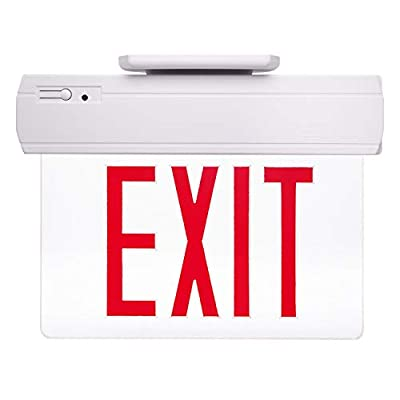 (40% Clearance) eTopLighting Edge Lit Emergency Exit Sign Clear Side Back Ceiling Mounting w/red letter,APLIQ208