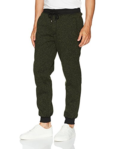 Southpole Men's Basic Fleece Marled Jogger Pant, Olive(Marled), Medium