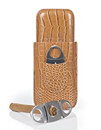 Cigar Case Cigar Cases Travel - Cutter Included - Leather Cigar Case, 2 Colors (Light Brown)