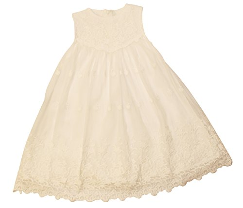 Price comparison product image Think Pink Bows Little Girls' Zaidee Flower Girl Lace Dress, Off White - 3T
