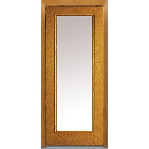 National Door Company Z008237R Fiberglass Prehung In-Swing Entry Door, Right Hand, Full Lite, Clear Glass, Oak in Fruitwood, 32'' x 80'' by National Door Company