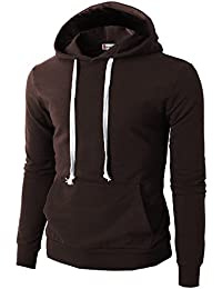 Mens Casual Slim Fit Long Sleeve Color Block Hoodie With V- Design Line