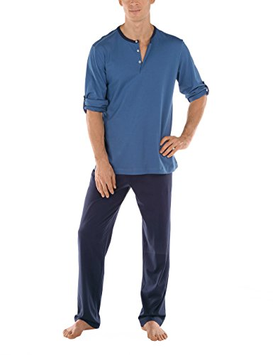 Calida mens cotton knit pajamas set Dakar 49168 (397, large) by Calida