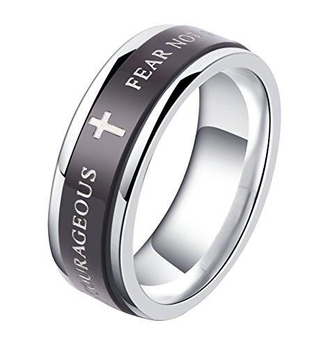 ALEXTINA 7MM Black Stainless Steel Bible Verse Isaiah 41:10 JOSHUA 1:9 Christian Ring Spinner Wedding Band Size 8