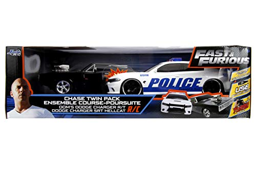 Jada Fast & Furious Chase Twin Pack- Dom's Dodge Charger R/T & Dodge Charger SRT Hellcat, Police & Chase Car Rc, USB… 6