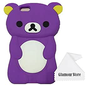 iPhone 6 Case,Cute 3D Bear Style Protective Silicone Case Cover For New Apple iPhone 6 4.7 inch,Not Fit For Apple iPhone 6 Plus+Free Cleaning Cloth As a gift (Purple)