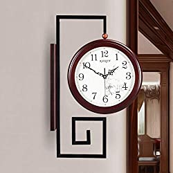 KIN Wall Clock Two-Sided Wall Clock Chinese Retro Mute Large Quartz Watch Living Room Creative Art Clock (Color : A)