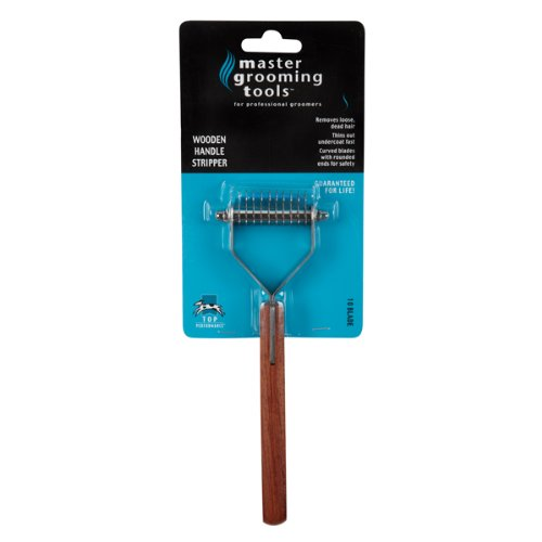 Master Grooming Tools Stainless Steel 10-Blade Pet Stripper Tool with Wooden Handle, 7-1/2-Inch, My Pet Supplies