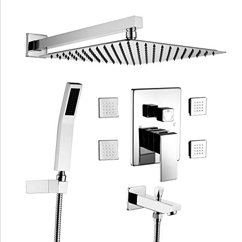 Acefy ATF18006 Shower Systems with Body Sprays and Tub Spout, 12