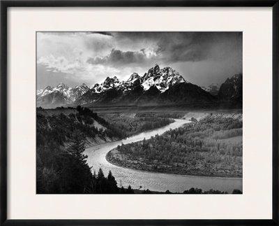 Tetons and The Snake River, Grand Teton National Park, c.1942 Framed Art Poster Print by Ansel Adams, 30x24