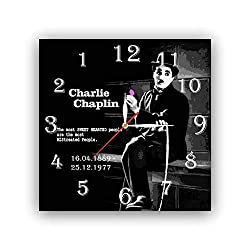 dudkaair Charlie Chaplin 11.4'' Handmade Reverse Wall Clock - Get Unique décor for Home or Office - Best Gift Ideas for Kids, Friends, Parents and Your Soul Mates