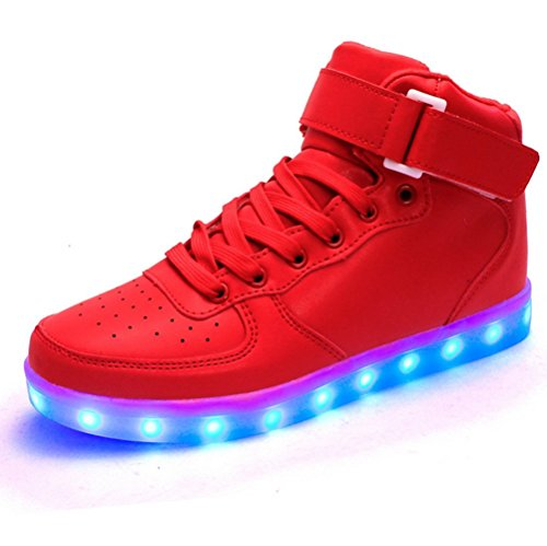 FQ Butterfly High Top Led Light Up Shoes 7 Colors Flashing Rechargeable Sneakers for Mens Womens Girls Boys For Christmas (Red, 6 D(M) US Men / 8 B(M) US Women) by FQ Butterfly
