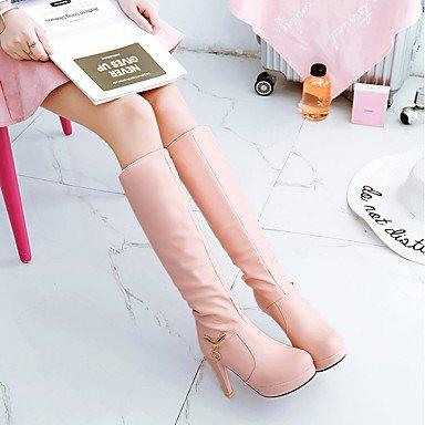 GLL amp;xuezi Hiver Rose blushing Femme Noir Habillé pink Strass Décontracté Automne 10 Similicuir Confort Aiguille Blanc à cm Talon Bottes 12 11qfdr