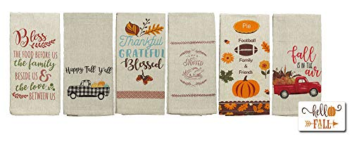 Fall Kitchen Towels Set | Fall and Thanksgiving Kitchen Towels Set of 6 | Fall Truck Kitchen Towels | 6 Decorative Flour Sack Towels