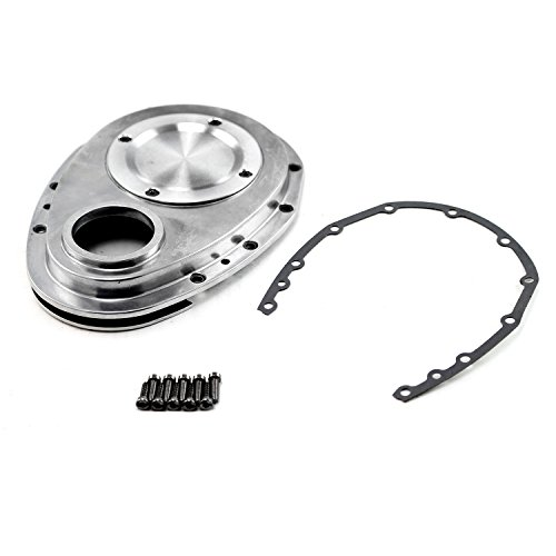 Chevy SBC 350 2-Piece Polished Aluminum Timing Chain Cover w/Inspection Plate