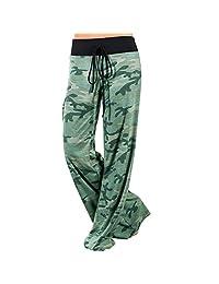Assivia Womens Wide Leg High Waist Yoga Pants Casual Printed Drawstring Trousers